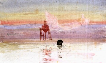 PAF1548 Watercolour sketch of Maplin lighthouse by William Lionel Wyllie -® National Maritime Museum
