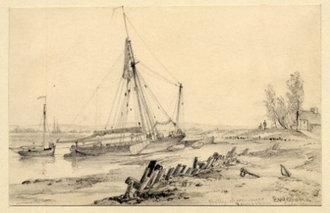Holly Shore Boats on Shore BM E W Cooke 1832