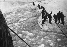 Rafting astern brash ice made by the 'Endurance' in efforts to break free, during the Imperial Trans-Antarctic Expedition, 1914-17, led by Ernest Shackleton. (Photo by Frank Hurley/Scott Polar Research Institute, University of Cambridge/Getty Images)