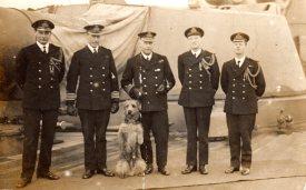 P6 HMS Barham officers and mascot