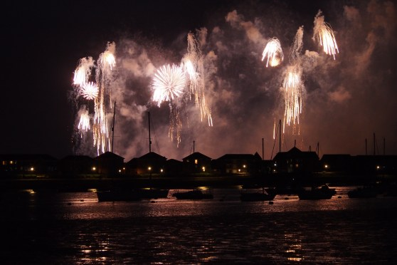 Fireworks over the river for the 350th anniversary of the Dutch Raid on the Medway