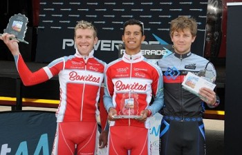 Bonitas climber Jayde Julius (centre) took a surprise victory in the 115km Lost City Cycle Classic which formed part of the Powerade Bestmed Lost City Cycle Festival in the North-West Province on Saturday. With him are Westvaal-BMC's runner-up Tyler Day (right) and third-placed Herman Fouché of Bonitas. Photo: Jetline Action Photo