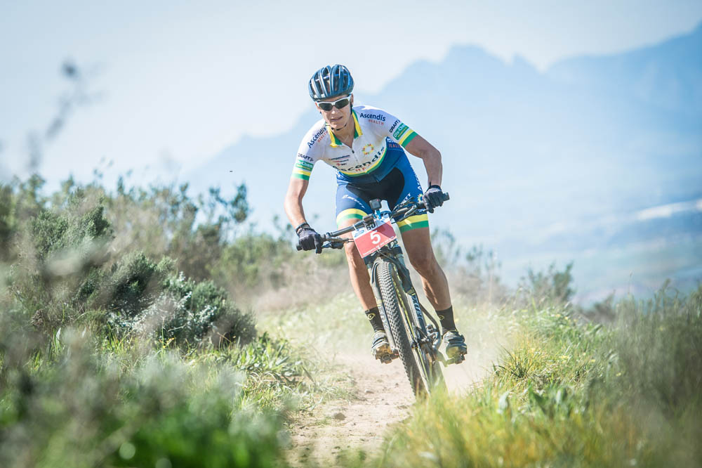 Robyn De Groot claimed gold in the women's 60km Fedhealth MTB Challenge at the picturesque Meerendal Wine Estate on Sunday, 06 September 2015. De Groot claimed victory in a time of 03 hours 35 seconds.