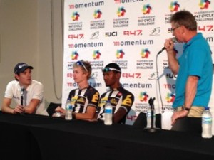 (From left) Orica-GreenEDGE's Daryl Impey, who came in at a well-fought third place, chats with MTN-Qhubeka Feeder Team's Stefan de Bod (first) and Clint Hendriks (second) to MC Paul Valstar after the 2015 Momentum 947 Cycle Challenge Elite Men's race in Gauteng on Sunday 15 November.