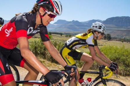 Ariane Kleinhans (left) of Team Spur-Specialized and Lise Olivier of Time Freight in action during the first stage of the Bestmed Tour of Good Hope today. Photo: Capcha