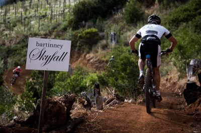 Ryal De Waal enters Bartinney Skyfall, an iconic section on the stage two route of the Origin of Trails. Photo: Cherie Redecker