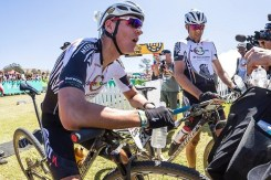 Jaroslav Kulhavy and Christoph Sauser during the prologue of the 2017 Cape Epic at Meerendal Wine Estate in Durbanville. Photo: Dominic Barnardt/Cape Epic/SPORTZPICS