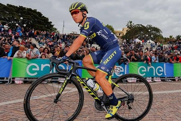 Caleb Ewan during stage six of Giro d'Italia that finished 217km later in Terme Luigiane.