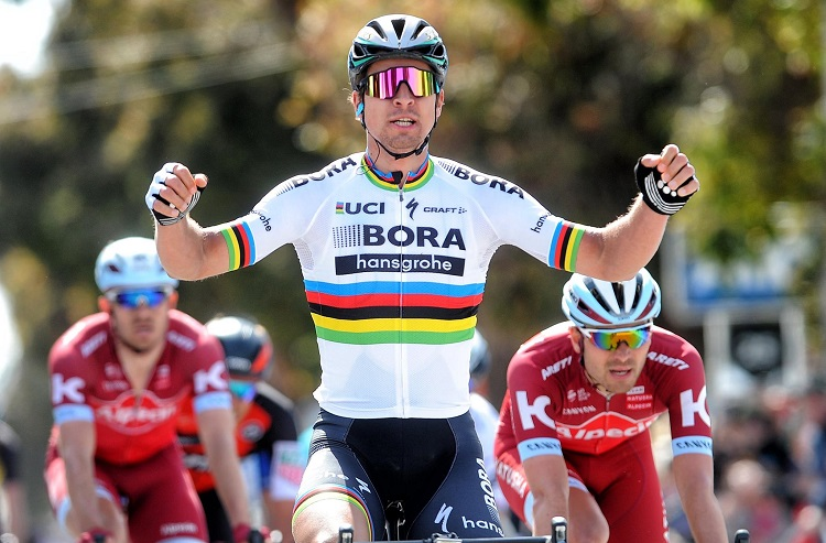 Bora-Hansgrohe's Peter Sagan, pictured here at the Tour of California, won the third stage of Tour de France in Longwy, France, today.