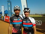 Dana Coetzee (left) and Sanet Coetzee won the 60km men's and women's races at the Bestmed Sondela MTB Classic near Bela-Bela in Limpopo today.