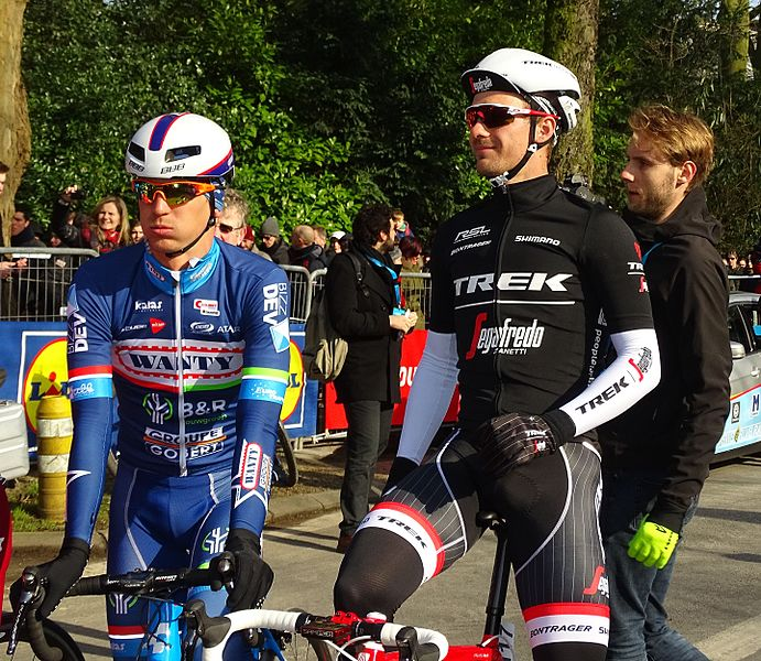 Trek-Segafredo's Edward Theuns (right) won stage four of the BinckBank Tour in Lanaken yesterday.