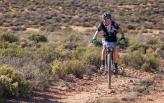 An image of Hannele Steyn in action during the second day of the Namaqua Quest MTB Stage Race.