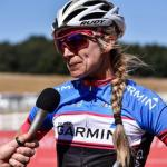 Pictured here is Yolandi du Toit being interviewed on the second day of the National MTB Series in Dullstroom, Mpumalanga, today.