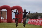 Alan Hatherly (left) and Matt Beers won the 96km opening stage of the Cape Pioneer Trek, which started and finished from the Milkwood Primary School in Mossel Bay today. Photo: ZC Marketing Consulting