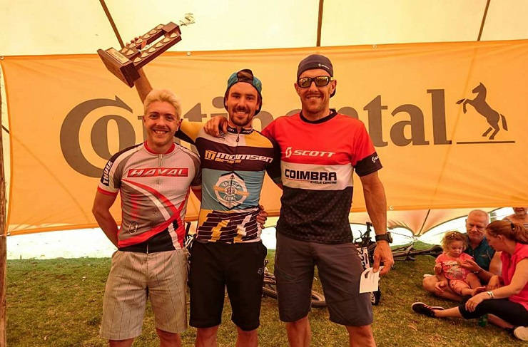 Marco Joubert (middle) won the Longmore Classic yesterday, standing alongside second place Jason Meaton (left) and Steven Shirley (right). Photo: Supplied.