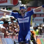 Elia Viviani pictured here celebrating winning stage three of the 2017 Tour Down Under.