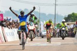 Joseph Areruya celebrates his win on stage four of the 2017 Tropicale Amissa Bongo