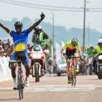 Joseph Areruya celebrates his win on stage four of the 2017 Tropicale Amissa Bongo