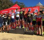 Swiss trio Matthias Stirnemann, Nino Schurter and Marcel Guerrini dominated the SA MTB Cup Series XCO #1, finishing first to third respectively. Photo:twitter.com/Team_Spur