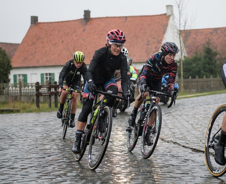 Ashleigh Moolman-Pasio pictured during the rain-soaked Dwars door Vlaanderen in Belgium yesterday. Photo: Velofocus