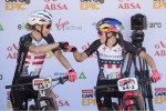 Annika Langvad (left) and Kate Courtney pictured before their prologue on stage one of the Cape Epic today. Photo: Cape Epic