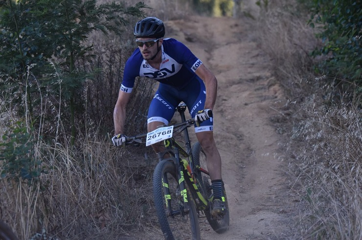 Gert Heyns was happy to be the first South African - in a field packed with international riders - to finish the Cape Town Cycle Tour MTB Challenge yesterday. Photo: Gustav Klotz