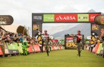 Julian Jessop (left) and Matthys Beukes pictured finishing in their red African's jerseys at Val de Vie. Photo: Sam Clark/Cape Epic/SPORTZPICS