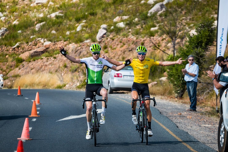 Kent Main (left) and Stefan de Bod of the Dimension Data Continental team at Bestmed Tour of Good Hope