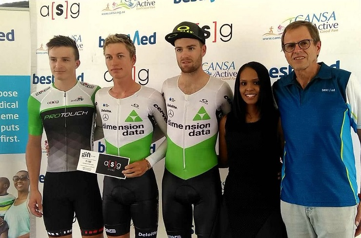 Stefan de Bod (middle) pictured with second-placed Kent Main (right) and third-placed HB Kruger after the time-trial in stage two of the Tour of Good Hope in Paarl today. Photo: @tourofgoodhope