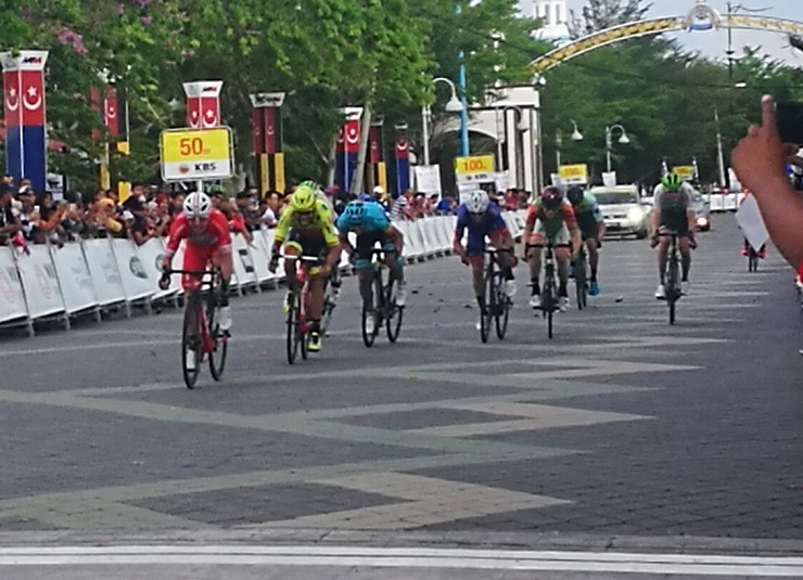 Androni Giocattoli-Sidermec's Manuel Belletti pictured winning stage seven of the Tour de Langkawi in Malaysia today. Photo: @ltdlofficial