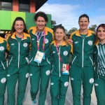 The South African women's track team at the Commonwealth Games from left Adelia Neethling, Elfriede Wolfaardt, Annerine Wenhold (coach), Charlene du Preez, Ilze Bole and Danielle van Niekerk (reserve). Photo: Supplied