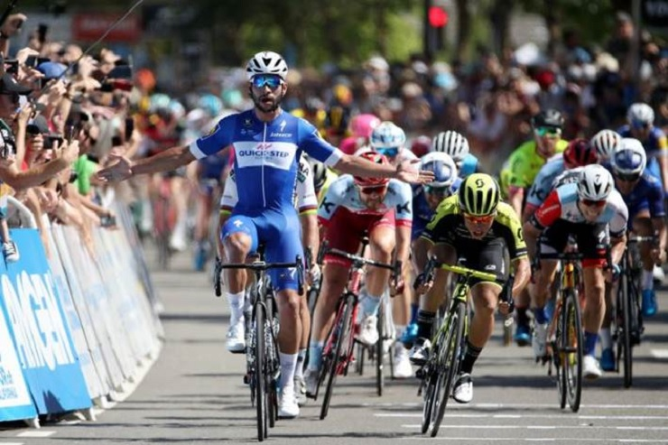 Quick-Step Floors' Fernando Gaviria won the 176.5km fifth stage of the Tour of California. Photo: Getty Images