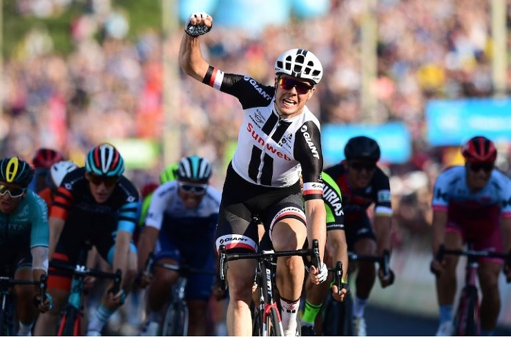 Max Walscheid won the 184km third stage of the Tour de Yorkshire in England yesterday. Photo: SWpix.com