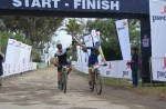 Shaun-Nick Bester (left) and Andrew Hill cross the finish line first