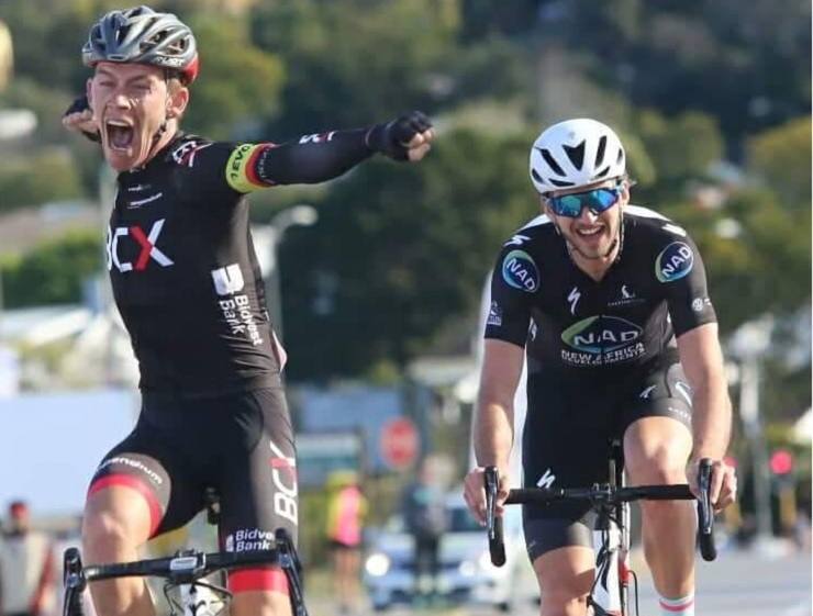 Chris Jooste was a relieved man after pulling off a hard-earned victory in the 115km Knysna Cycle Tour. Photo: Des Scholtz