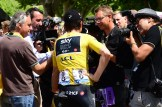 Journalists interview Team Sky's Geraint Thomas