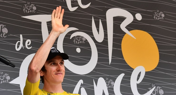 Team Sky's Geraint Thomas waves to fans on stage 13 of the Tour de France