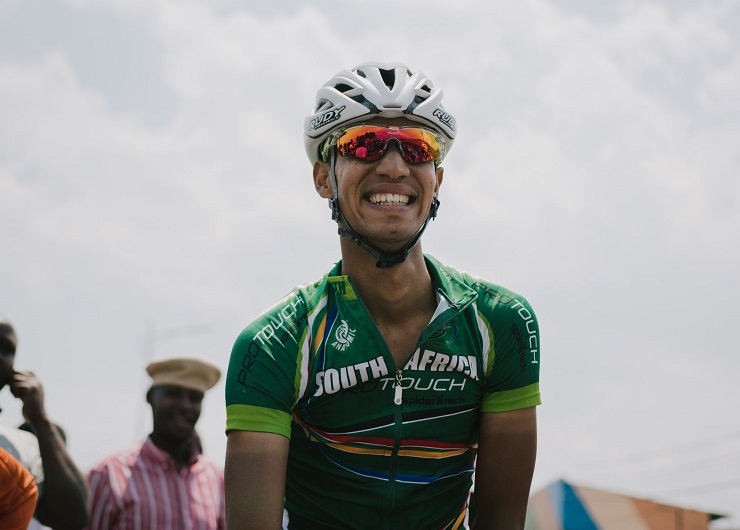 South Africa's Jayde Julius (pictured) finished on the podium for the second straight race when he came third on the 108.5km sixth stage of the Tour du Rwanda today. Photo: ProTouch Sports