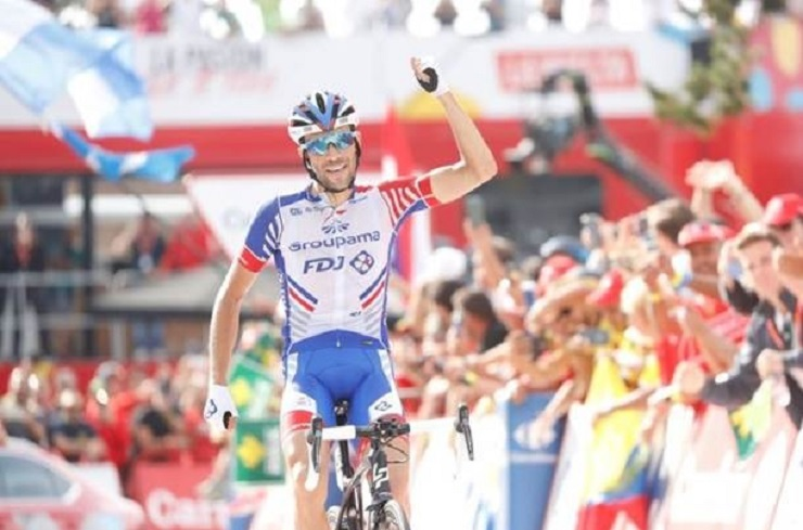 Groupama-FDJ's Thibaut Pinot surged to victory over the final stretch to win the 154.4km 19th stage of the Vuelta a Espana in Andorra today. Photo: Unipublic/Luis Ángel Gómez