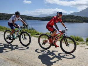 Alan Hatherly (left) and Simon Andreassen won the stage three time-trial of the Cape Pioneer Trek. Photo: Carli Smith