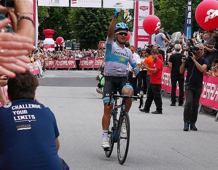 Astana Pro's Alexey Lutsenko sprinted to victory on the 206.9km fourth stage of the Tour of Turkey in Selçuk today and with it he took the race lead. Photo: Photo credits