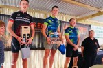 Casper Pretorius (middle) and Kay Macintosh won the respective men's and women's 70km feature race of the Dorsland MTB Challenge at the weekend. Photo: Supplied