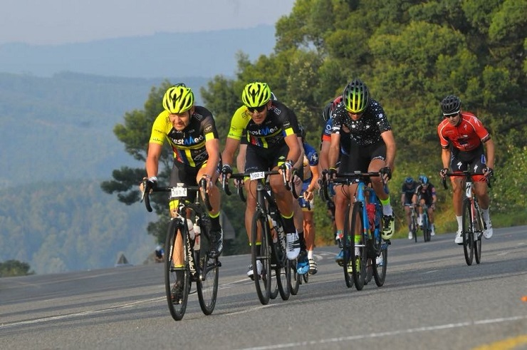 Johann Naude (front) savoured being the first South African home at the inaugural 160km Gran Fondo World Tour event at the Amashova Durban Classic yesterday. Photo: Supplied