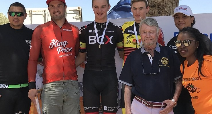 South Africa's Marc Pritzen (middle) won the 100km Namibian Cycle Classic in Windhoek at the weekend. Photo: Twitter/@MarcPritzen