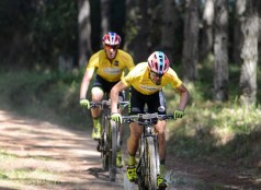 Race leaders Philip Buys (front) and Matthys Beukes in action during the stage three time-trial of the Cape Pioneer Trek. Photo: Carli Smith