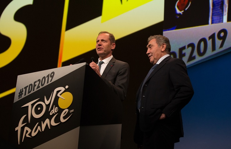 General director of the Tour de France Christian Prudhomme (left) and cycling legend  Eddy Merckx (right) at the route presentation in Paris yesterday. Photo: ASO/Thomas Maheux