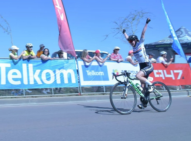 """Carla Oberholzer was delighted to end her highly successful season with a victory at one of the country's """"big three"""" classics, the 947 Cycle Challenge today. Photo: Supplied"""
