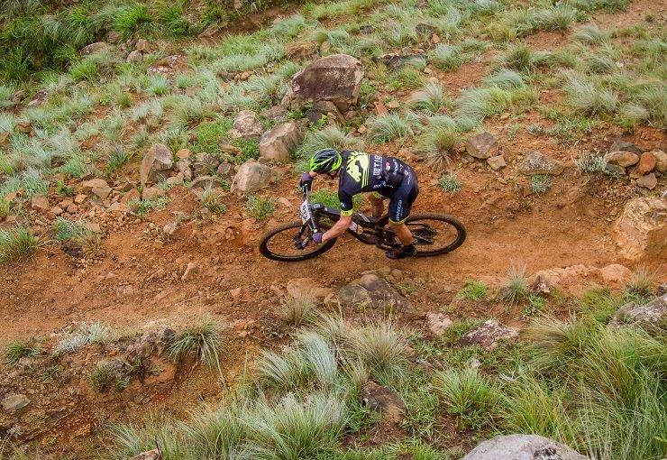 An aerial shot of solo men's winner Andrew Hill at the Drak Descent. Photo: Graham Daniel/369 Communications