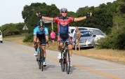 Bradley Gouveris (front) beating Marco Joubert to the line in the Festival of Cycling road race today. Photo: East Cape Cycling