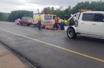 Paramedics at the scene of the accident on the M4 South Bound just before the M27 Umdloti off-ramp. Photo: Big Show Towing